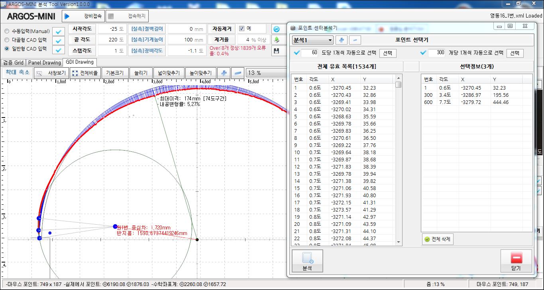 내공 변위 측정 장치 convergence measurement 내공변위 운영소프트웨어 측정후 보정완료후 원점분석후 원점중심 하중차 확인화면