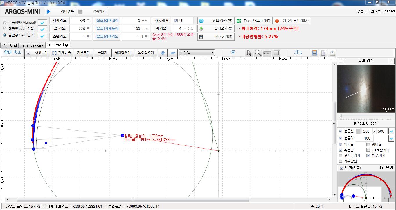 내공 변위 측정 장치 convergence measurement 내공변위 운영소프트웨어  측정후 보정완료후 원점분석후 원점중심 하중차 확인 확대 화면